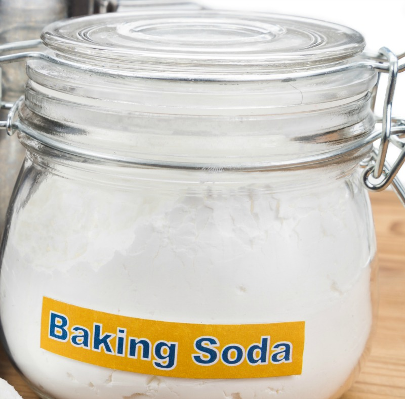 Glass jar with baking soda