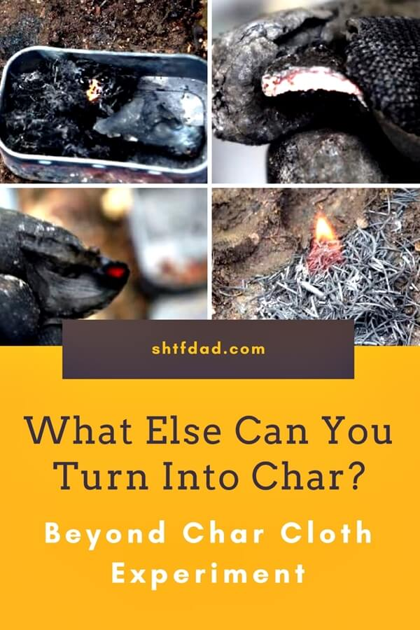Ever wonder what you can turn into char, other than cotton, wool or wood? We experimented and have results for you. Take a look an see what else you can use for tinder. #shtf #shtfdad #char #tinder #fire #startafire
