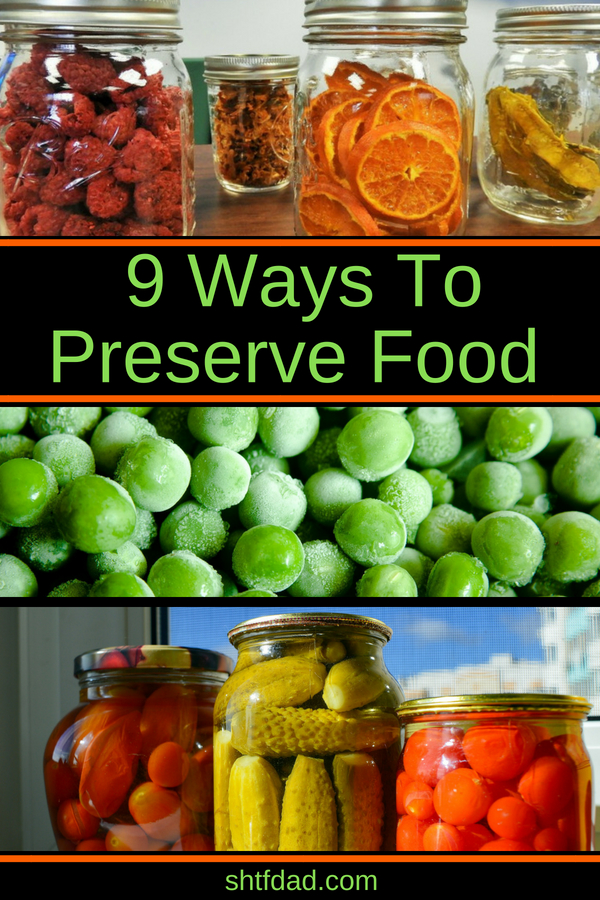 When summer is in fill swing and fruits and vegetables are plentiful, take time to preserve some for later. Here are 9 methods of food preservation you can use to store food: canning, freezing, drying, packing in olive oil, immersing in alcohol, and more. #foodpreservation #canning #freezing #shtf #harvest #preparedness