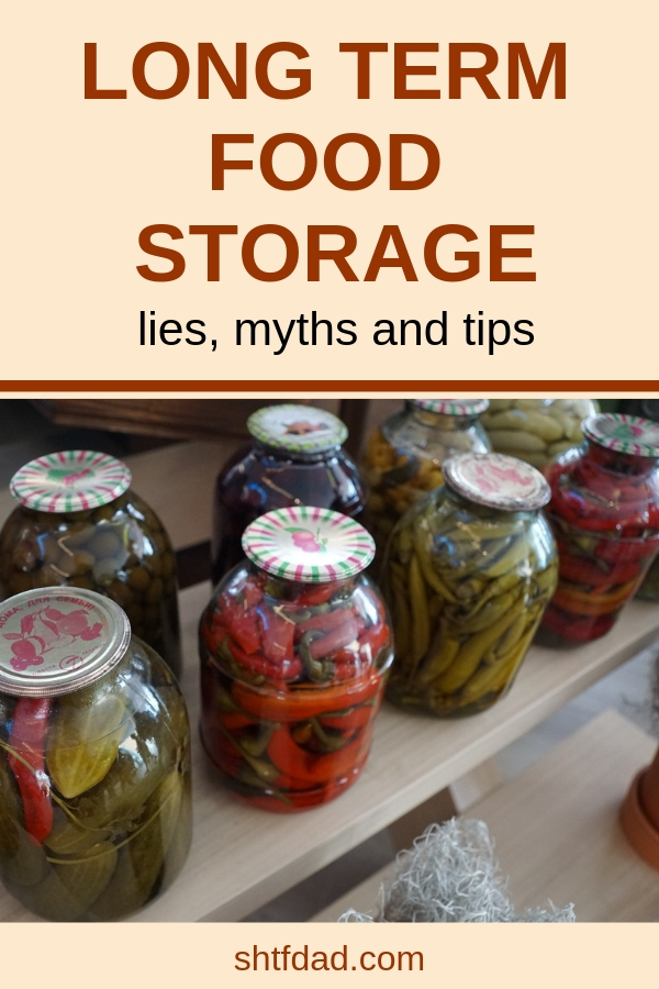 Want to learn ways to store food long term for emergencies? These food storage tips will help put meals on the table in times of need. A mixture of dry and canned goods in sealed containers on shelves in your pantry will help you stay organized and stress free. #shtf #preparedness #survival #foodstorage #longtermfoodstorage #shtfdad