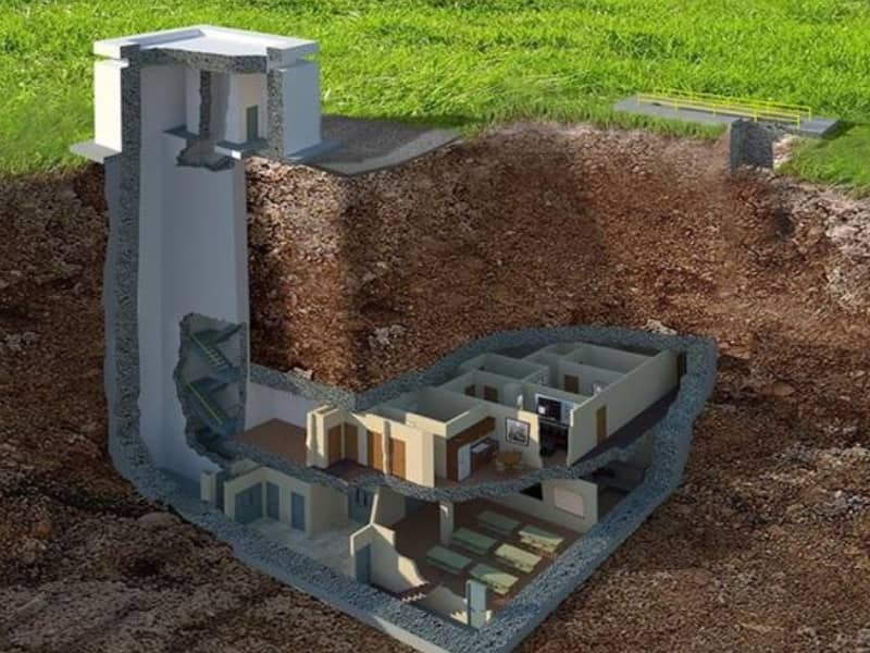 underground view of a bunker