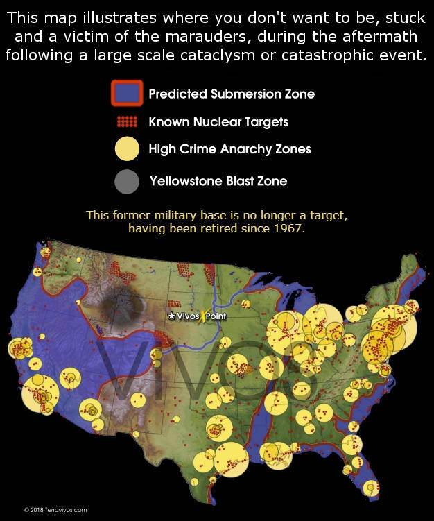 This map illustrates where you don't want to be, stuck and a victim of marauders during the aftermath following a large scale cataclysm or catastrophic event. #terravivos #nucleartargets #blastzone #cataclysm #bunkers #shtf #preparedness