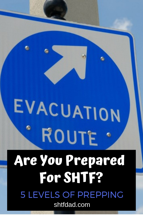 Are you prepared for SHTF? Here are 5 levels of preparedness with a list of what you need to achieve each. #preparedness #shtf #shtfdad #survival #preparedforanything