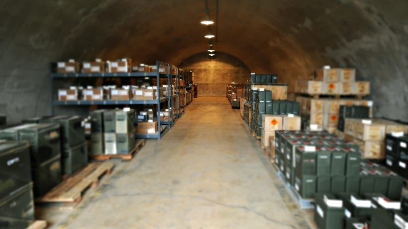 Bunker stockpiled with ammo supplies