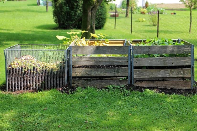 The composting process using compost bins