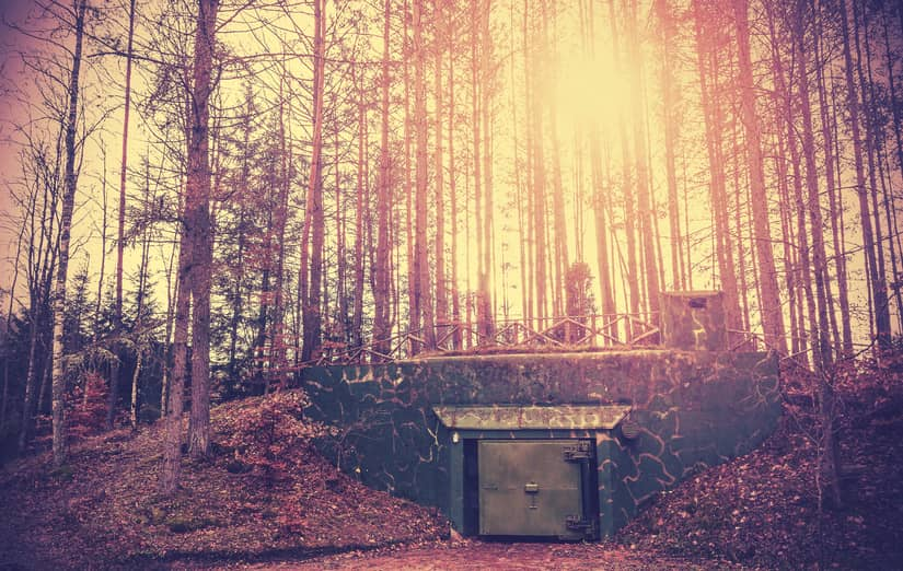 underground bunker in a forest