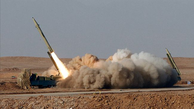 A single-stage solid-propellant, surface-to-surface Fateh (Victor) missile is launched during the Great Prophet 7 missile drill in Semnan, central Iran