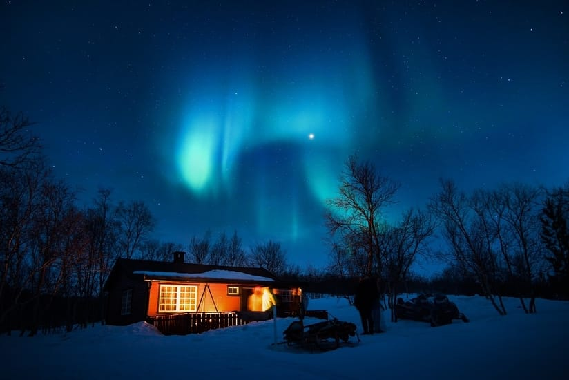 Aurora Borealis resulting from a solar flare
