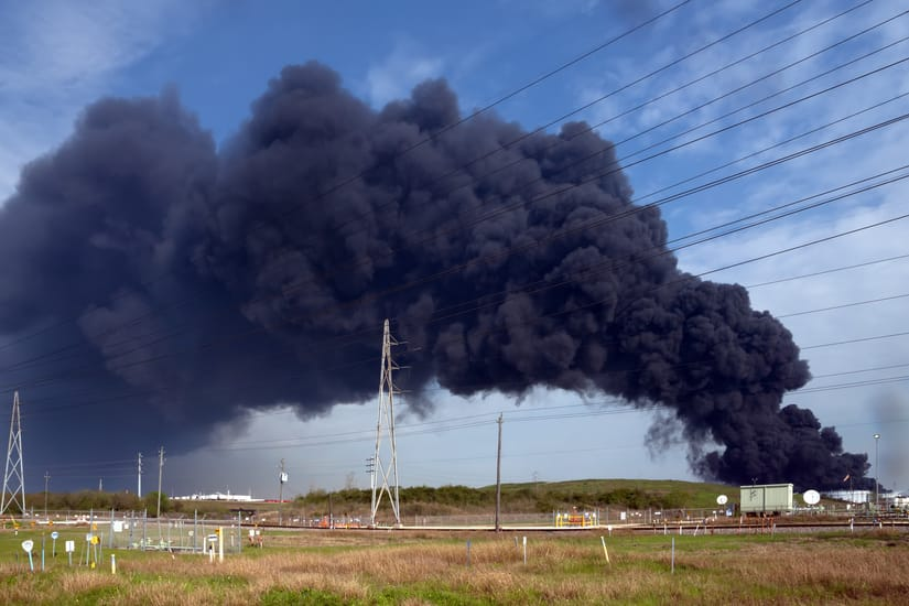 chemical plant on fire
