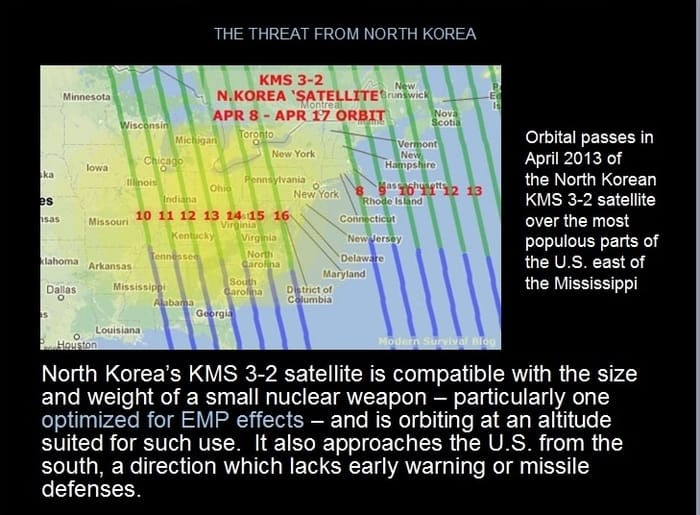 The EMP threat from North Korea kms 3-2 satellite