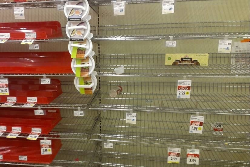 empty shelves in supermarket after EMP attack