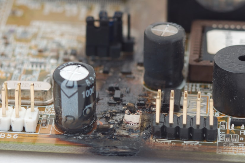 fried circuit board due to EMP attack