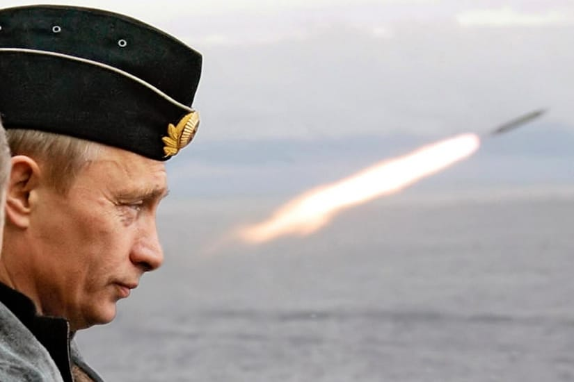 Russian President Putin watches the launch of a missile.