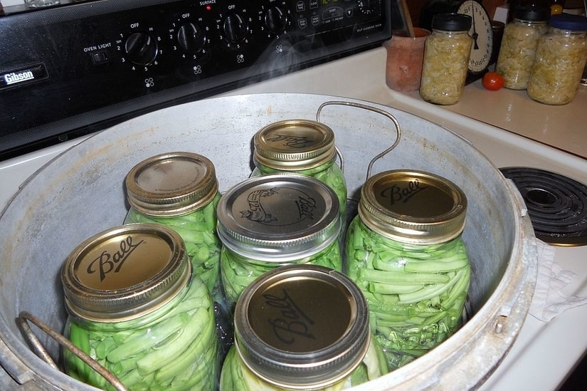 Green beans in a pressure cooker