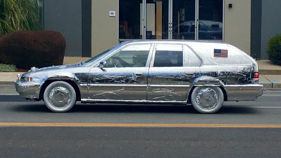 aluminum foil wrapped car